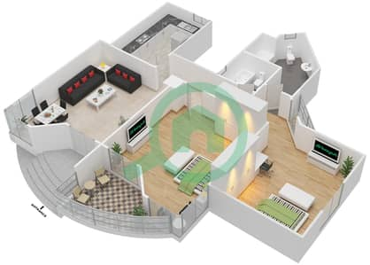 Al Khor Towers - 2 Bedroom Apartment Type A6 Floor plan