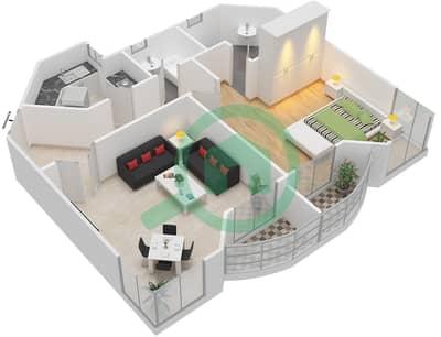 Al Khor Towers - 1 Bedroom Apartment Type A5 Floor plan
