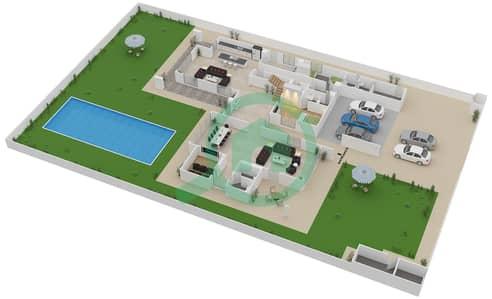 المخططات الطابقية لتصميم النموذج 6F فیلا 6 غرف نوم - ياس ايكرز