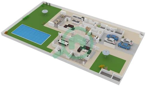 المخططات الطابقية لتصميم النموذج 5F فیلا 5 غرف نوم - ياس ايكرز