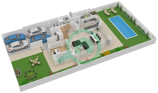 المخططات الطابقية لتصميم النموذج 4X تاون هاوس 4 غرف نوم - ياس ايكرز