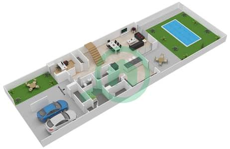 المخططات الطابقية لتصميم النموذج 3MB تاون هاوس 3 غرف نوم - ياس ايكرز