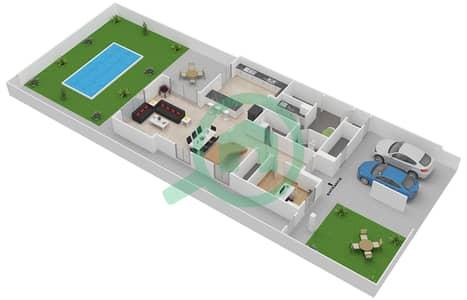 المخططات الطابقية لتصميم النموذج 3EB تاون هاوس 3 غرف نوم - ياس ايكرز