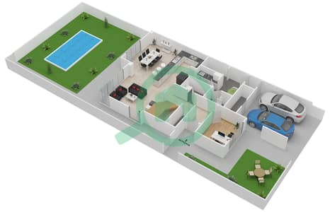 المخططات الطابقية لتصميم النموذج 3EA تاون هاوس 3 غرف نوم - ياس ايكرز