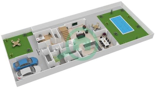 المخططات الطابقية لتصميم النموذج 3X تاون هاوس 3 غرف نوم - ياس ايكرز