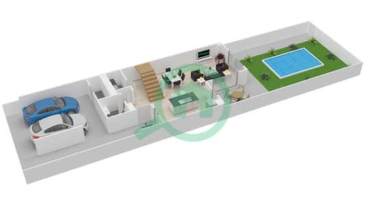 المخططات الطابقية لتصميم النموذج 2M تاون هاوس 2 غرفة نوم - ياس ايكرز