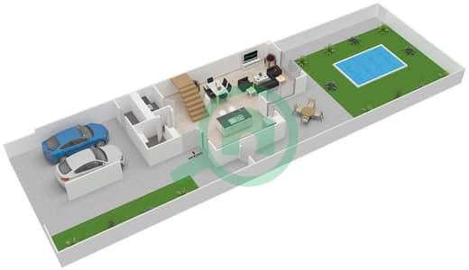 المخططات الطابقية لتصميم النموذج 2E تاون هاوس 2 غرفة نوم - ياس ايكرز