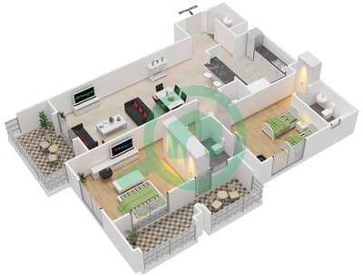 المخططات الطابقية لتصميم النموذج H-ANSAM 4 شقة 2 غرفة نوم - أنسام