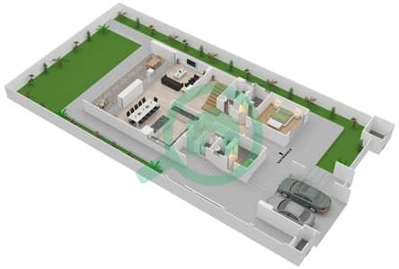 المخططات الطابقية لتصميم النموذج 8 فیلا 4 غرف نوم - حِد السعديات
