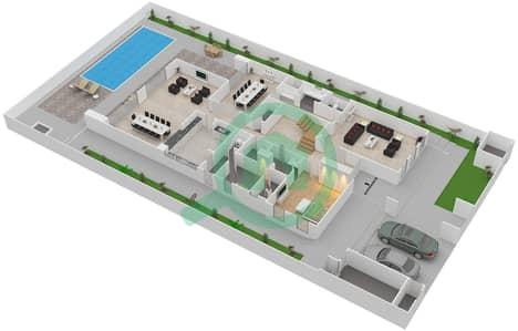 المخططات الطابقية لتصميم النموذج 6 فیلا 5 غرف نوم - حِد السعديات