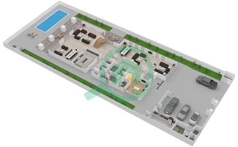 المخططات الطابقية لتصميم النموذج 3C فیلا 7 غرف نوم - حِد السعديات