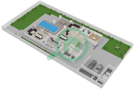 المخططات الطابقية لتصميم النموذج 4D فیلا 6 غرف نوم - حِد السعديات
