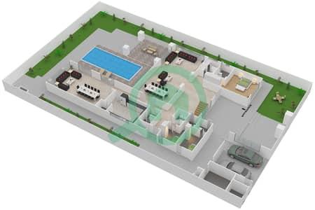 المخططات الطابقية لتصميم النموذج 4C فیلا 6 غرف نوم - حِد السعديات