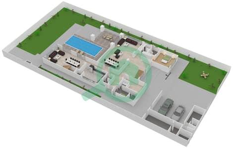 المخططات الطابقية لتصميم النموذج 4B فیلا 6 غرف نوم - حِد السعديات
