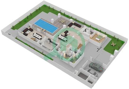 المخططات الطابقية لتصميم النموذج 4A فیلا 6 غرف نوم - حِد السعديات