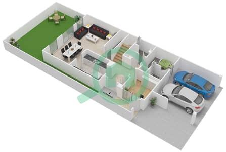 المخططات الطابقية لتصميم النموذج M تاون هاوس 3 غرف نوم - بحيرات السعديات