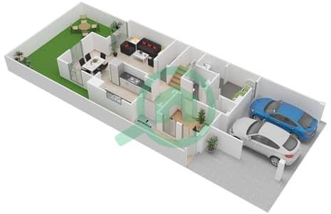المخططات الطابقية لتصميم النموذج E تاون هاوس 2 غرفة نوم - بحيرات السعديات