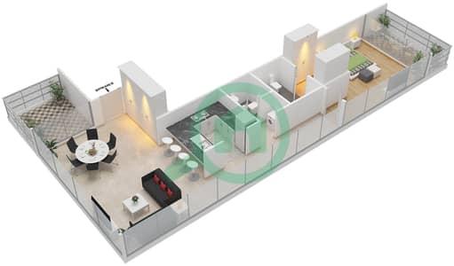 المخططات الطابقية لتصميم النموذج H شقة 1 غرفة نوم - بارك فيو