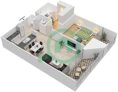 المخططات الطابقية لتصميم النموذج K شقة 1 غرفة نوم - بارك فيو