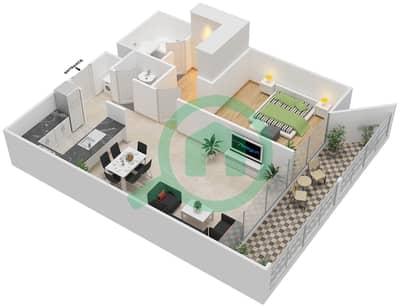 المخططات الطابقية لتصميم النموذج J شقة 1 غرفة نوم - بارك فيو