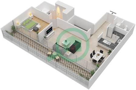 المخططات الطابقية لتصميم النموذج G شقة 1 غرفة نوم - بارك فيو