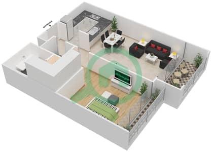 المخططات الطابقية لتصميم النموذج I شقة 1 غرفة نوم - بارك فيو