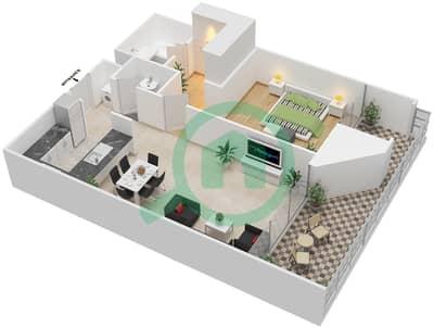 المخططات الطابقية لتصميم النموذج F شقة 1 غرفة نوم - بارك فيو