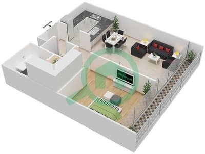 المخططات الطابقية لتصميم النموذج E شقة 1 غرفة نوم - بارك فيو