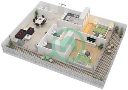 المخططات الطابقية لتصميم النموذج E شقة 2 غرفة نوم - بارك فيو