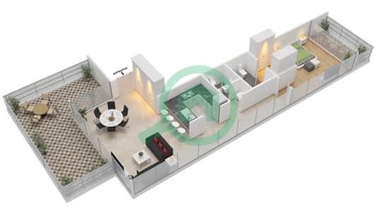 المخططات الطابقية لتصميم النموذج D شقة 1 غرفة نوم - بارك فيو