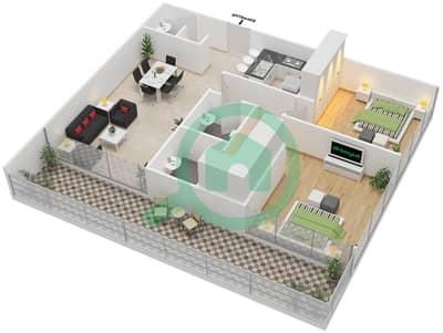 المخططات الطابقية لتصميم النموذج D شقة 2 غرفة نوم - بارك فيو