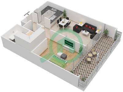 المخططات الطابقية لتصميم النموذج C شقة 1 غرفة نوم - بارك فيو