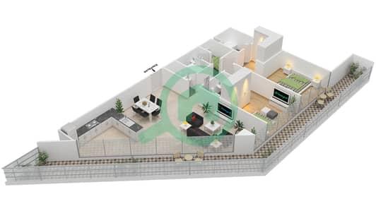 المخططات الطابقية لتصميم النموذج C شقة 2 غرفة نوم - بارك فيو