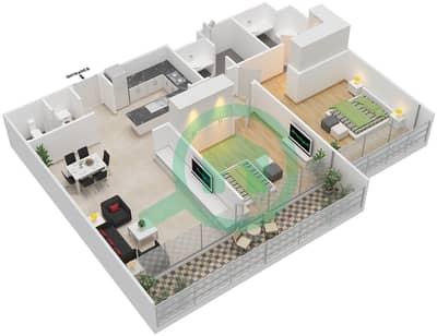 المخططات الطابقية لتصميم النموذج B شقة 2 غرفة نوم - بارك فيو