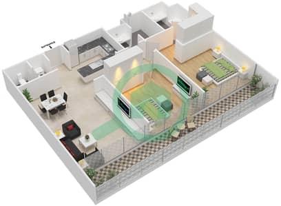المخططات الطابقية لتصميم النموذج A شقة 2 غرفة نوم - بارك فيو