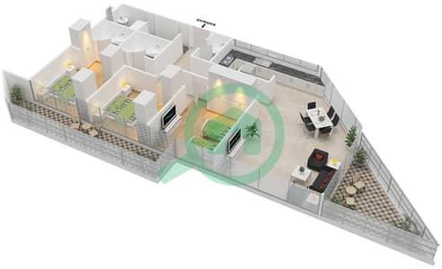 المخططات الطابقية لتصميم النموذج A شقة 3 غرف نوم - بارك فيو