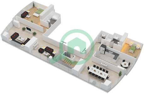 المخططات الطابقية لتصميم النموذج T5-PHA بنتهاوس 5 غرف نوم - أبراج الإتحاد