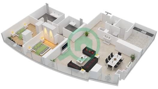 المخططات الطابقية لتصميم النموذج T4-2E شقة 2 غرفة نوم - أبراج الإتحاد