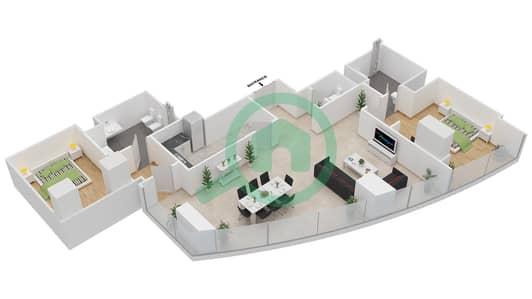 المخططات الطابقية لتصميم النموذج T4-2D شقة 2 غرفة نوم - أبراج الإتحاد