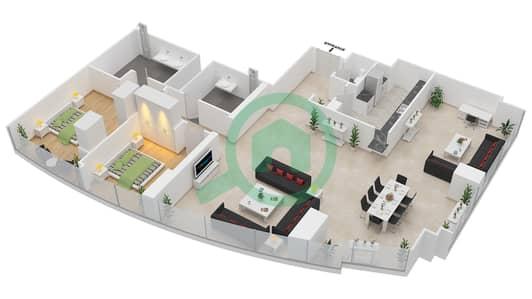 المخططات الطابقية لتصميم النموذج T4-2C شقة 2 غرفة نوم - أبراج الإتحاد