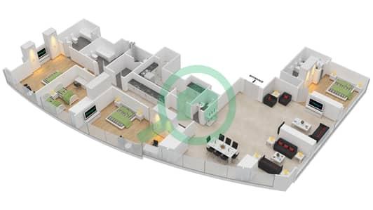 المخططات الطابقية لتصميم النموذج T2-4B شقة 4 غرف نوم - أبراج الإتحاد