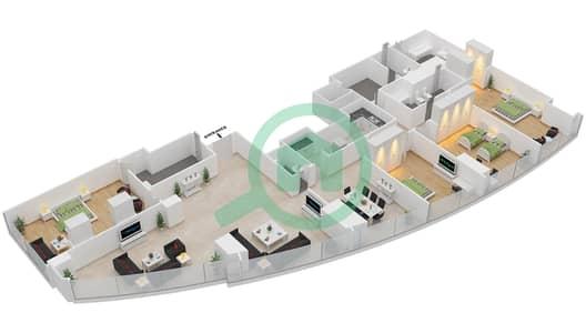 المخططات الطابقية لتصميم النموذج T2-4A شقة 4 غرف نوم - أبراج الإتحاد
