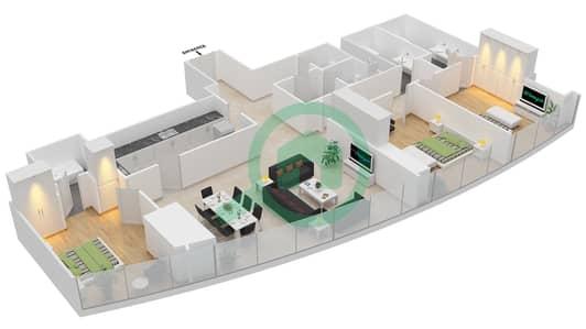 المخططات الطابقية لتصميم النموذج T2-3D شقة 3 غرف نوم - أبراج الإتحاد