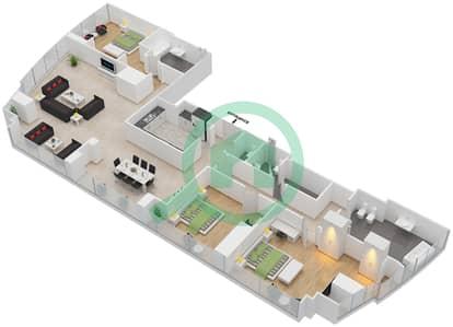 المخططات الطابقية لتصميم النموذج T5-3D شقة 3 غرف نوم - أبراج الإتحاد