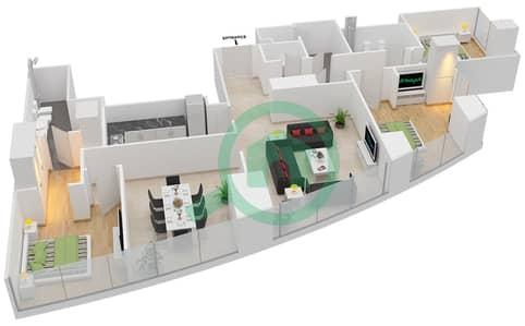 المخططات الطابقية لتصميم النموذج T2-3C شقة 3 غرف نوم - أبراج الإتحاد