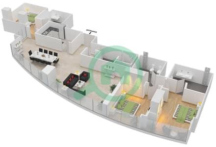 المخططات الطابقية لتصميم النموذج T5-3C شقة 3 غرف نوم - أبراج الإتحاد