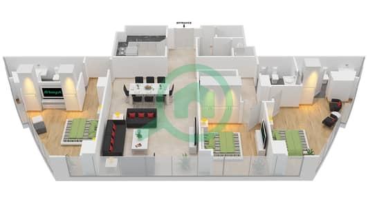 المخططات الطابقية لتصميم النموذج T2-3B شقة 3 غرف نوم - أبراج الإتحاد