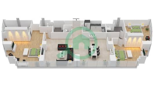 المخططات الطابقية لتصميم النموذج T5-3B شقة 3 غرف نوم - أبراج الإتحاد