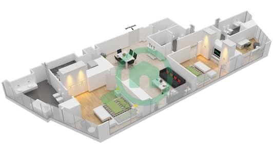 المخططات الطابقية لتصميم النموذج T2-3A شقة 2 غرفة نوم - أبراج الإتحاد