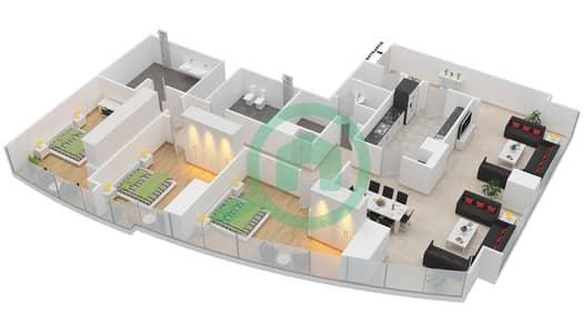 المخططات الطابقية لتصميم النموذج T5-3A شقة 3 غرف نوم - أبراج الإتحاد